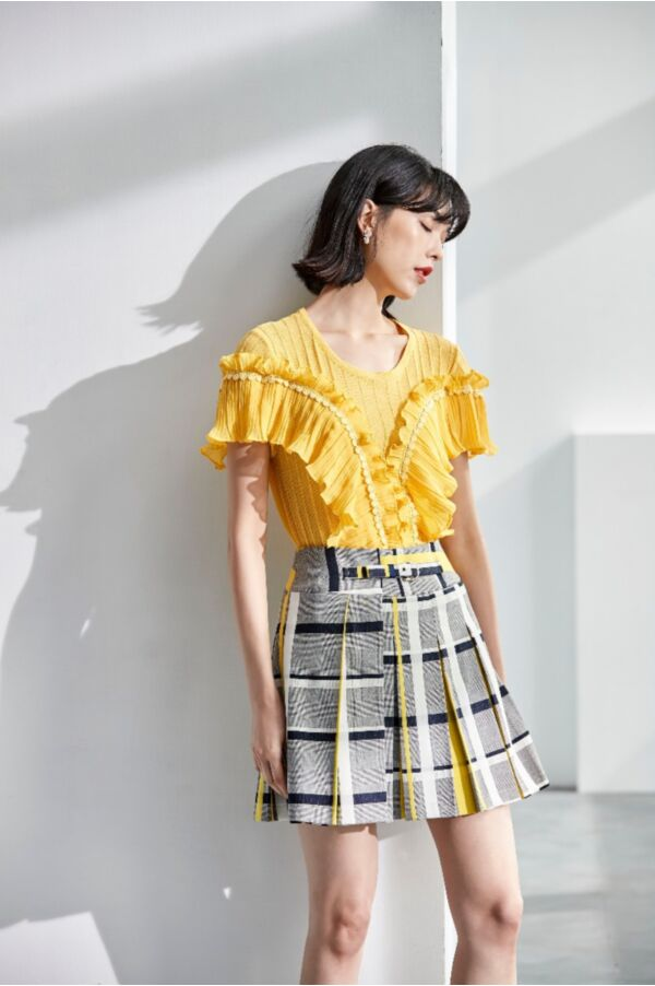 撞色格紋不對稱設計短裙