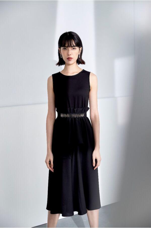 腰帶精緻縫珠長洋裝