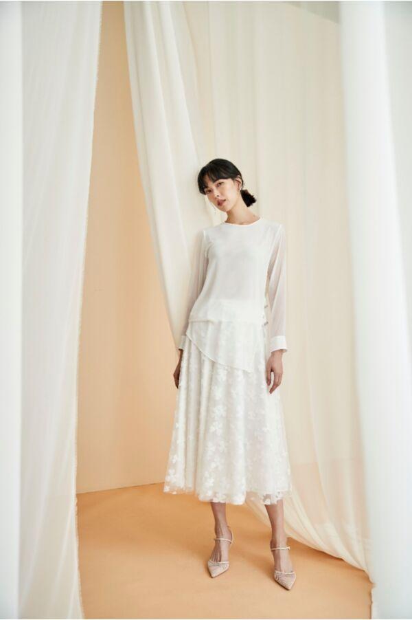 精緻刺繡波浪裙