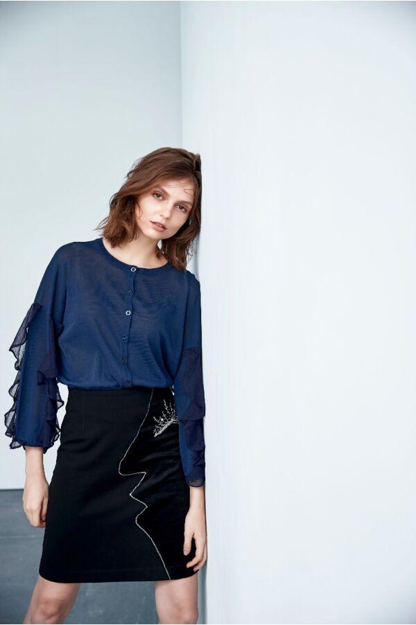 縫珠絨布拼接窄裙