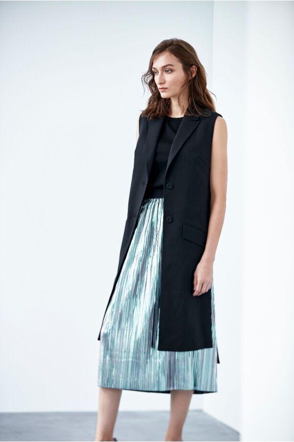 金屬感百摺長裙