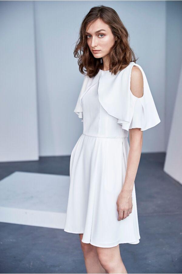 荷葉袖造型簍空設計洋裝