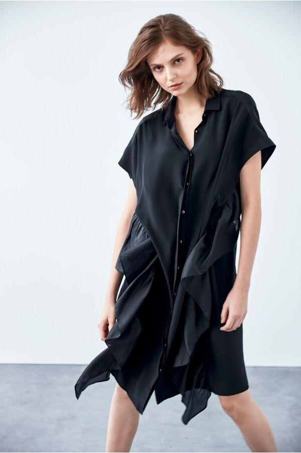 荷葉襯衫式洋裝