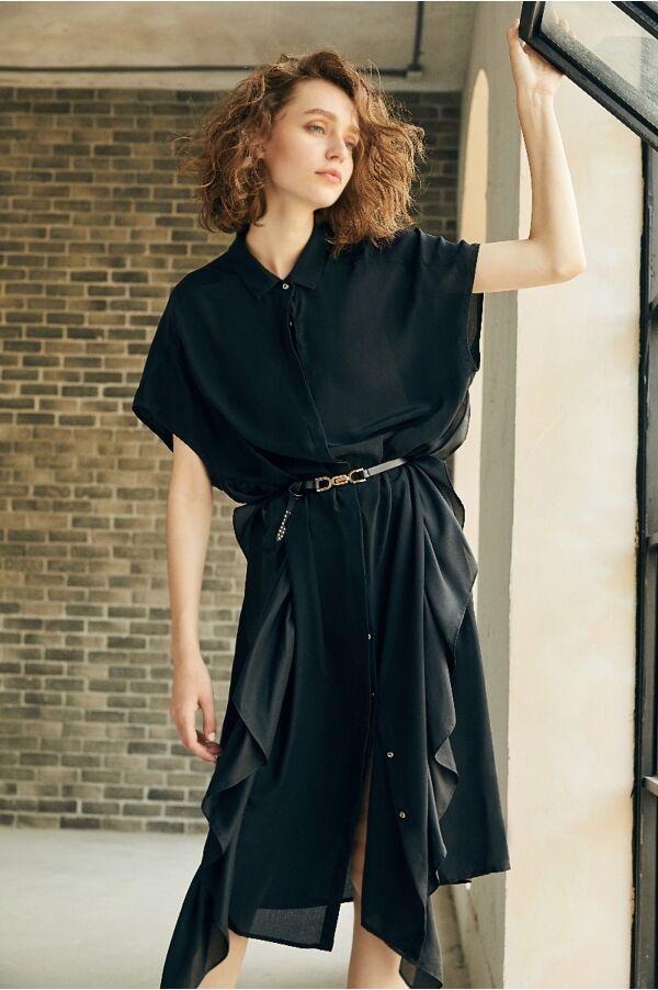 真絲荷葉設計襯衫洋裝