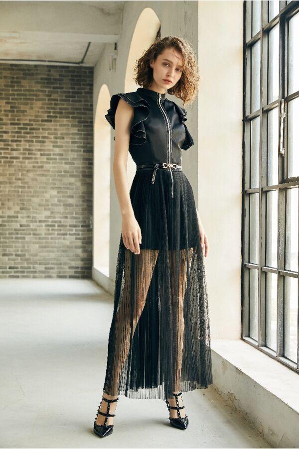 立體荷葉袖拉鍊長洋裝