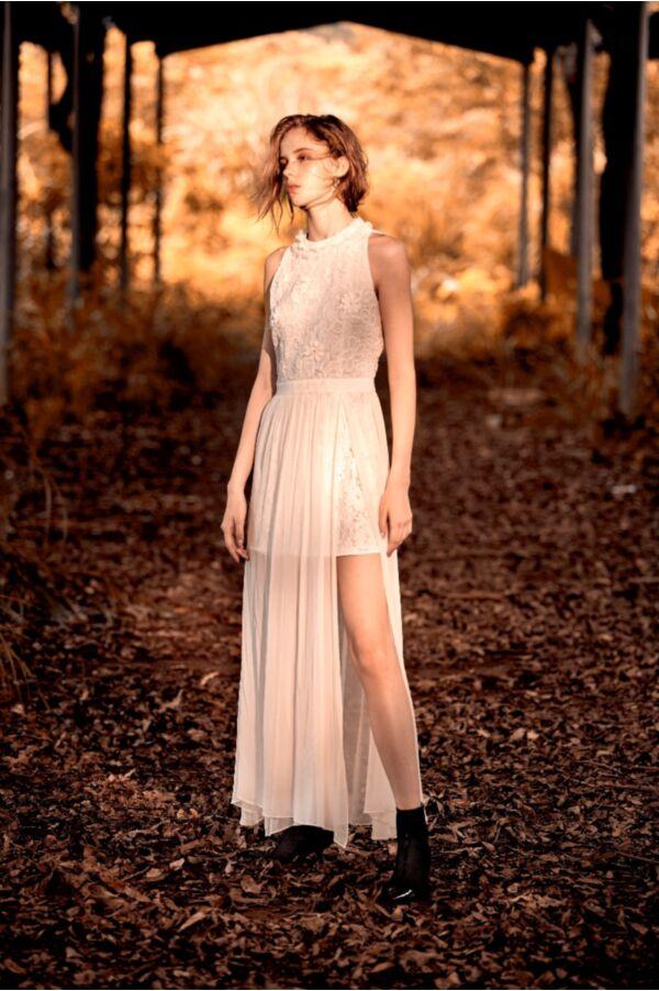 蕾絲拼接無袖洋裝