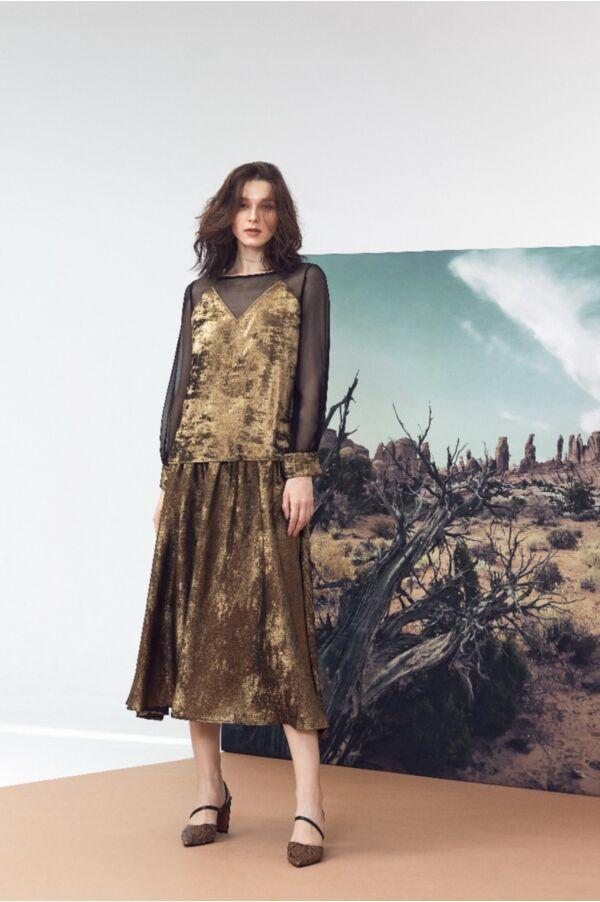 金屬面感圓裙