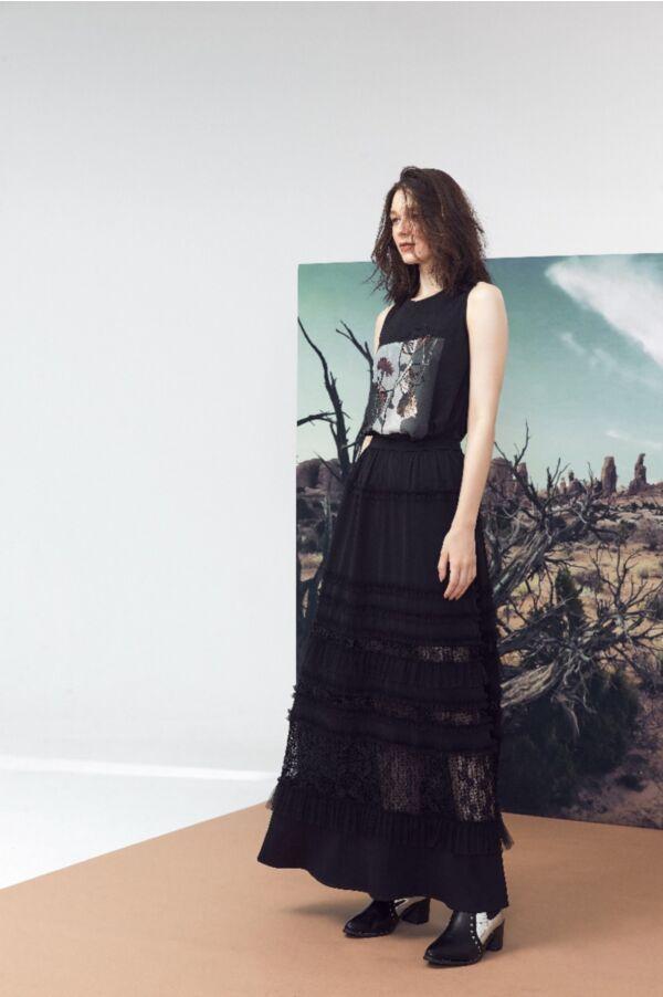 層次感設計蕾絲拼接長裙