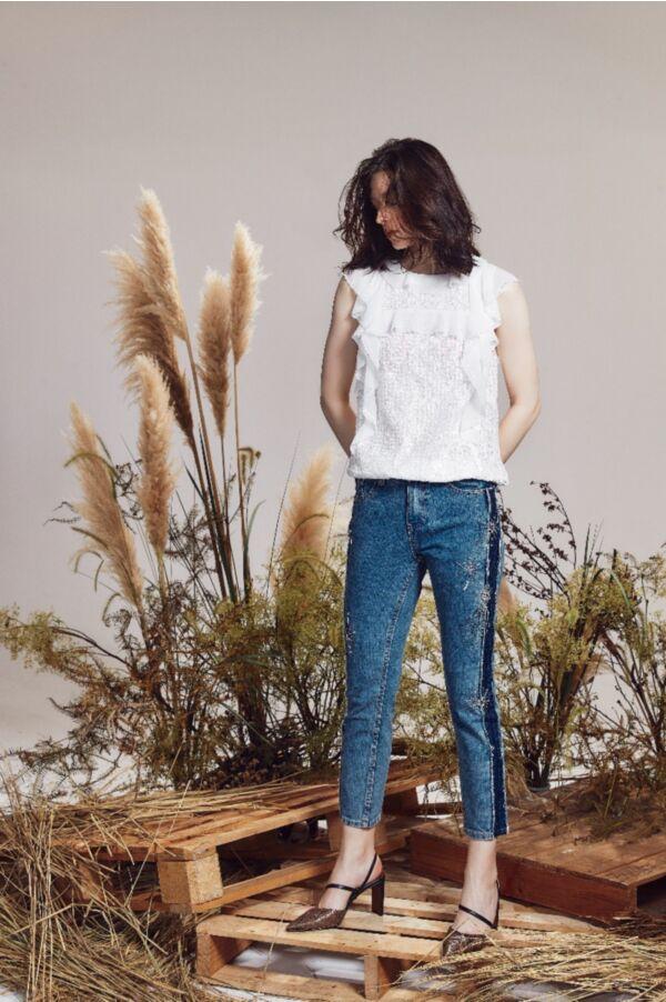 星空縫珠設計牛仔褲