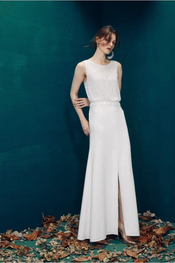 精緻縫珠開衩長洋裝