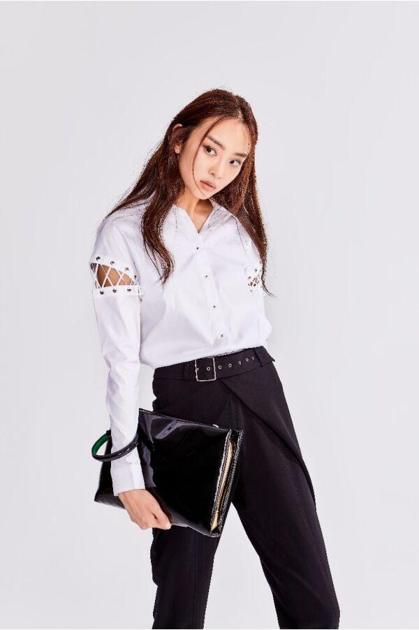 個性感縫接袖襯衫