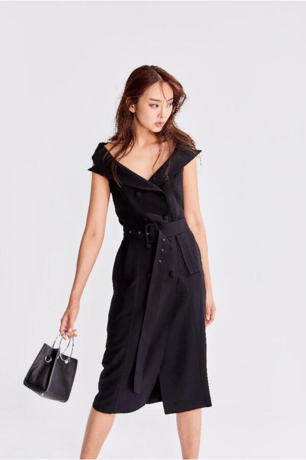 法式優雅排扣洋裝