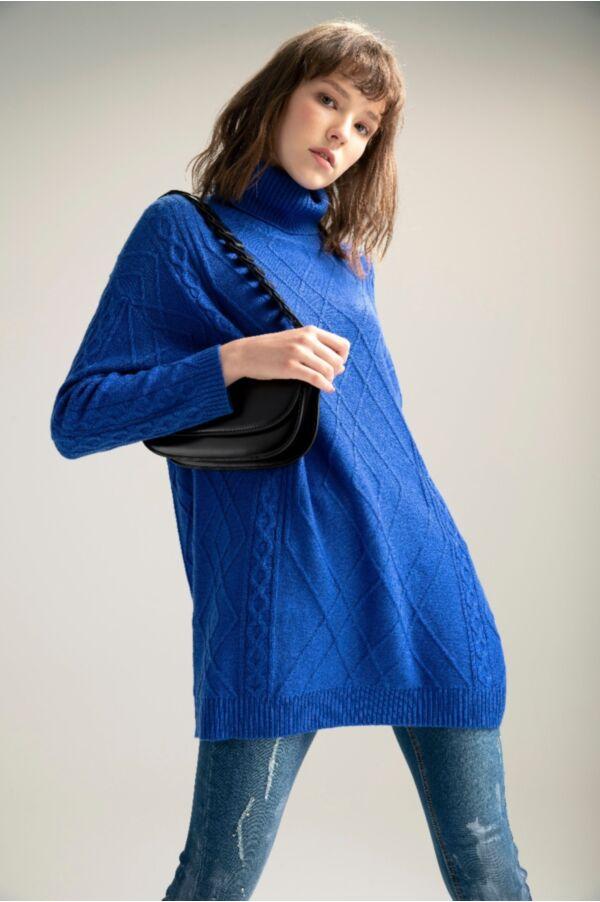 花紋針織寬鬆長版上衣