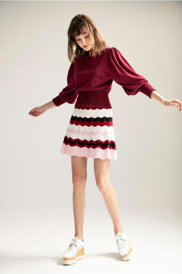 亮蔥彩條針織短裙