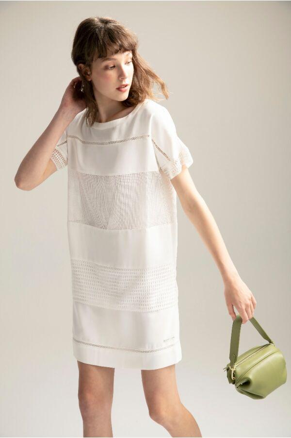 蕾絲織帶網格洋裝