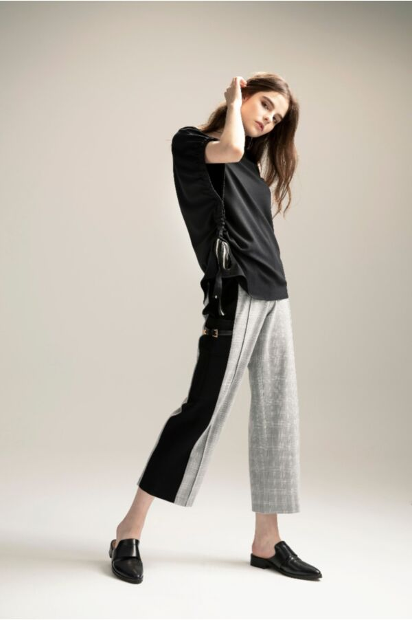 雙色顯瘦線條格紋長褲