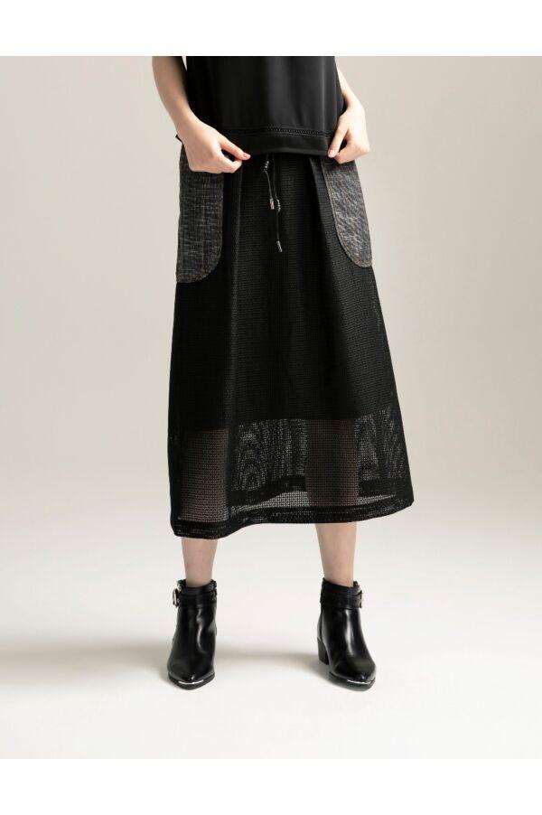 網紗拼接格子長裙