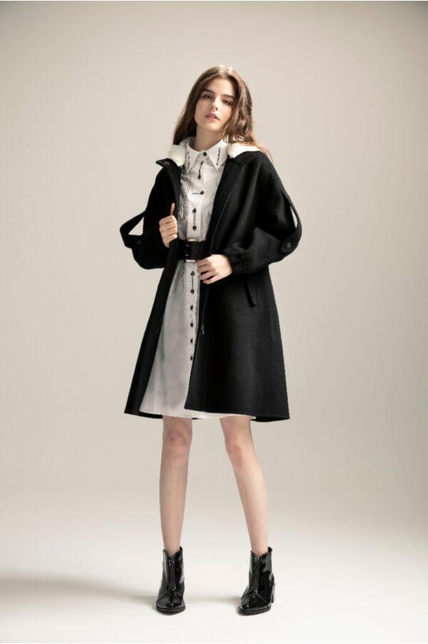 純羊毛夾克長版連帽外套