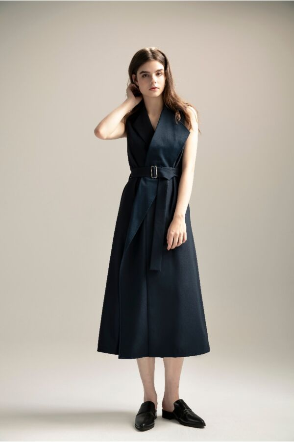 無袖風衣感連身裙