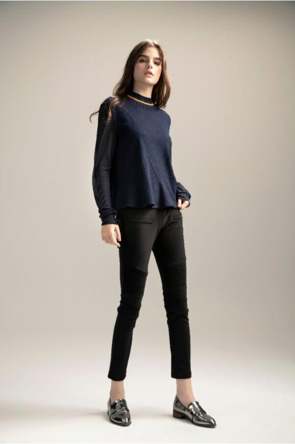 壓線設計緊身顯瘦黑褲