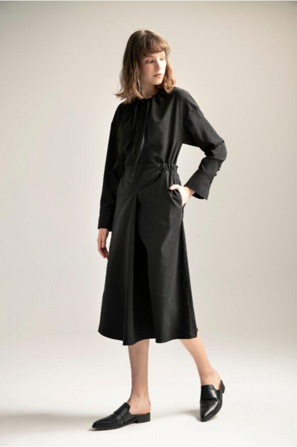 假兩層織帶設計洋裝