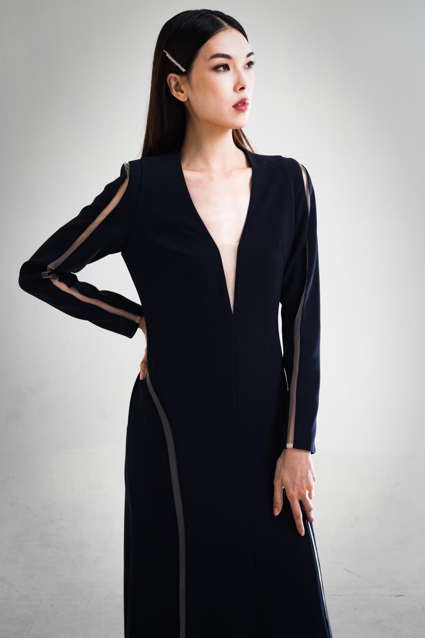 典雅網紗長袖長洋裝