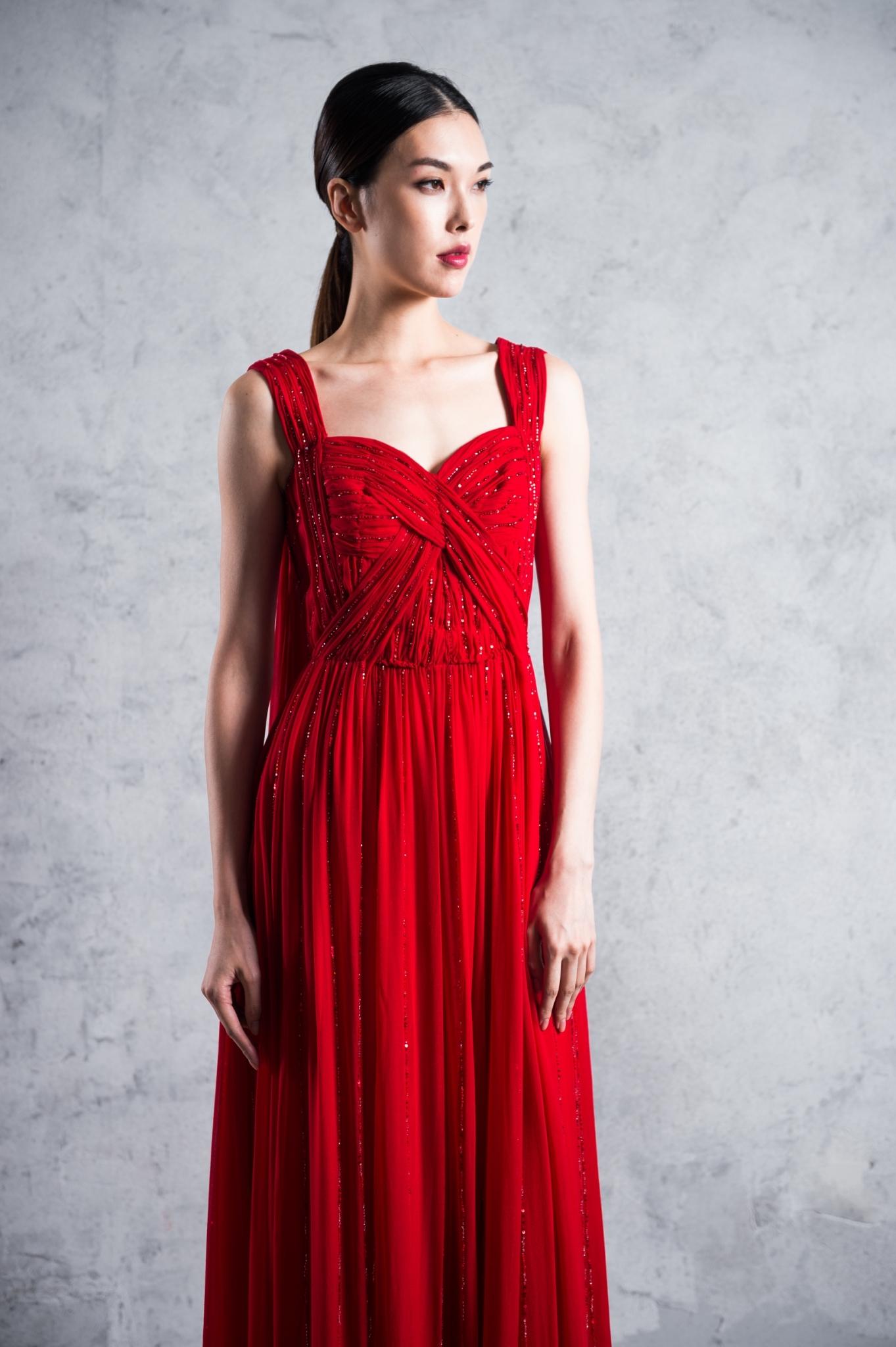華麗釘珠真絲長洋裝