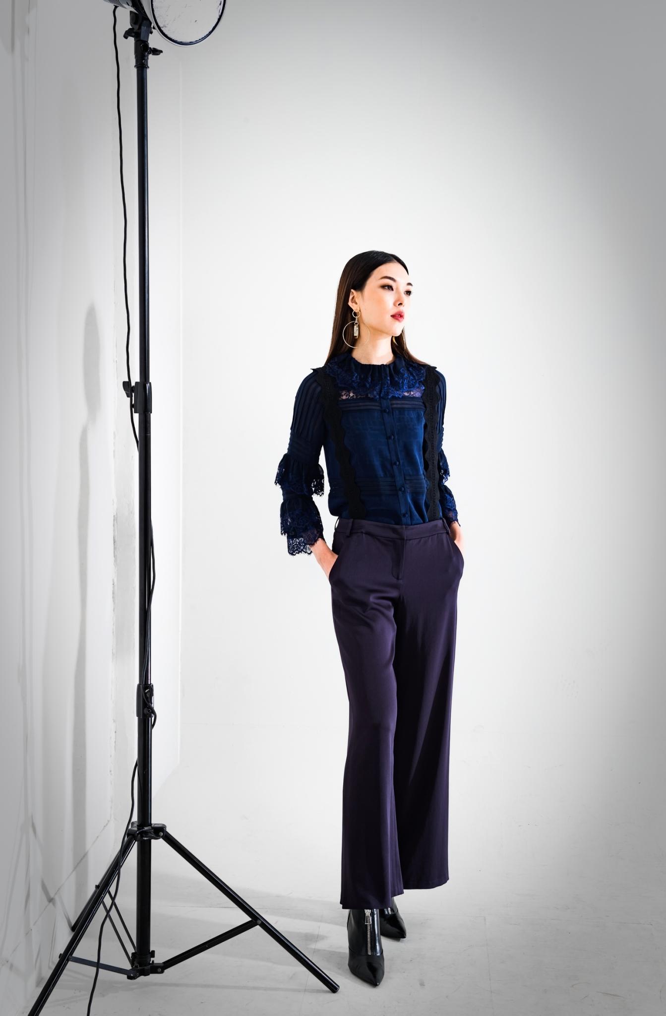 蕾絲造型襯衫 / 側開叉寬褲